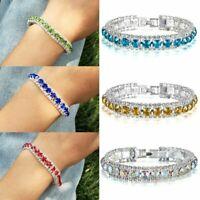 Lady Silver Crystal Rhinestone Bangle Bracelet Wedding Diamond Birthday Jewelry