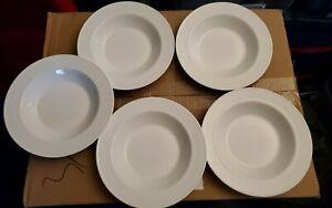 "Corelle lot of 5 pyroceram Winter Frost White 8.5"" flat rim pasta/soup bowls"