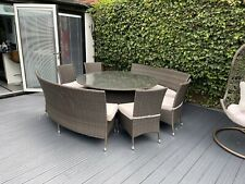 Mixed Brown Rattan Table & Chairs