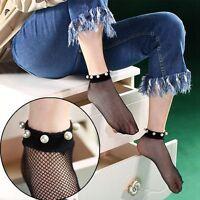Cute Women Pearl Lace Fishnet Ankle High Socks Mesh Fish Net Short Summer Socks