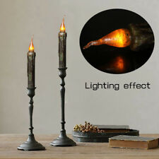 12pcs 17cm LED Flameless Wax Candle Battery Operated Taper Candle Black HOT