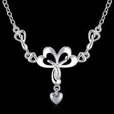 Collier chaîne pendentif charm Coeur plaqué argent 925