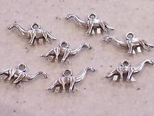 10 x Unusual Dinosaur Antique Silver Tone Pendant/Charms 26x13mm- Free P&P!