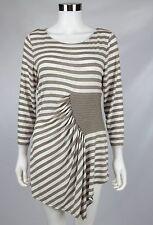 Eci New York Womens Taupe White Striped Metallic Asymmetric Tunic Top Sz Large
