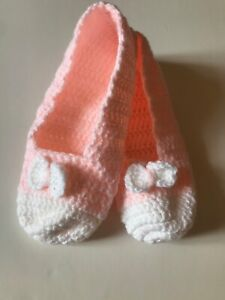 hand crocheted wool blend socks foot warmer one size with bow