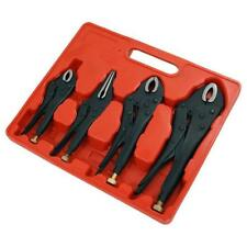 4 Piece Mole Grip Wrench Locking Pliers Tool Set - Curved & Long Nose