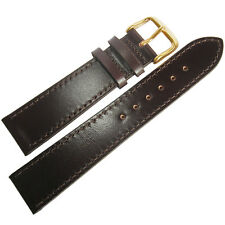 20mm Fluco German Brown Shell Cordovan Leather GOLD Buckle Flat Watch Band Strap