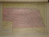 1929 Enciclopedia Britannica Mapa Nebraska USA