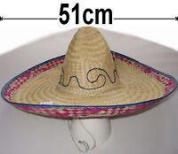 Adulto Sombrero Mexicano Para Disfraz Sombrero De Paja 51cm Beige/Multi Nuevo