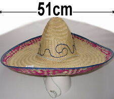 Sombrero mexicain Déguisements Chapeau paille 51cm beige / Multi NEUF