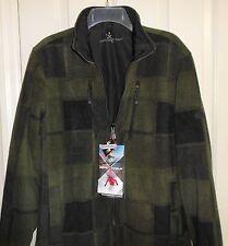 Mens Small Reversible Fleece Jacket Windbreaker ZeroXposur Olive Green Plaid NWT