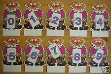 Clown 10 Tischkarten Platzkarten Geburtstag Kinder Party 0-9 Füllung Schultüte