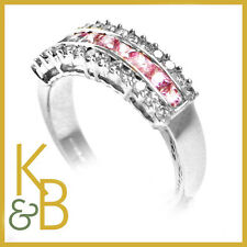 18ct White Gold Ring 13 Rnd Diamonds 9 Pink Sq Sapphires SIZE M 1/2 - 94385SALE!