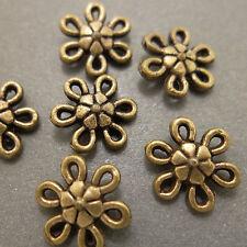 Antique Bronze Alloy Metal Flower Connectors 24 Pieces 9.8mm  #0075