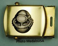 SCUBA Diver tan kaki Web Belt &  brass buckle Navy USN B146AN