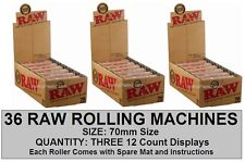 3x Box of 12 RAW 70mm Roller Rolling Machines Hemp Plastic Single Wide papers