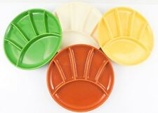 Vintage USA Pottery Divided Fondue Sushi Plates Colorful Set of 4