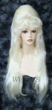 Extra Long Wig White Blonde Cone Beehive with Bangs Costume Drag Wigs US Seller