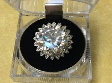 Huge 18.25ct 17.67mm  Genuine Clear  Moissanite+Rhodium plate ,size 7