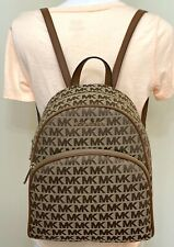 Michael Kors Abbey Beige Ebony Jacquard Signature Medium Backpack
