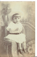Antique Small Girl Sitting on Wicker Chair RPPC Postcard 1900-1920's Unposted
