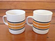Pair Vintage 70s 80s Marco Polo Fine China White Ceramic Striped Coffee Mugs