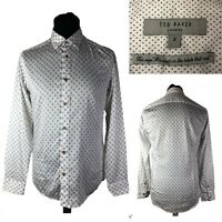 TED BAKER London Men's White Cotton Long Sleeve Casual Shirt Size 2 UK 36 Small