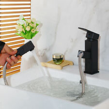 Bathroom 2 Function Pull Out Spray Kitchen Sink Black Mixer Faucet Handheld Taps