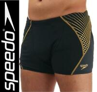 "New Speedo Endurance+ Mens Aquashorts  32"" waist Black / Gold Trunks Swim Shorts"