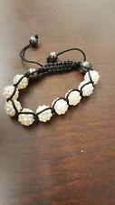 shambala bracelet with white resin beads and black string