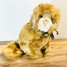 More details for vintage hermann teddy original cat with bell made in germany approx 9 inch tall