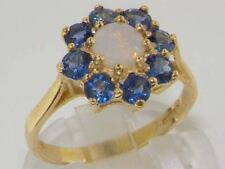 SOLID 9ct Yellow Gold Ladies Genuine Natural Opal & Blue Sapphire Cluster Ring