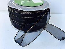"""5/8"""" SHEER/GOLD METALLIC EDGE Ribbon - May Arts - Black - GE10 - 100 yds"""