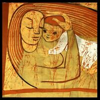 Vintage 1970s Painting On Silk Mother Baby Embrace Original Art Textile 19x12