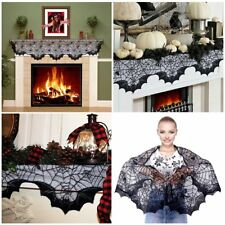 """Halloween Mantle Scarf Black Lace Fabric Fireplace Gothic Decorations 18"""" x 96"""""""