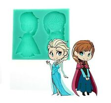 US Seller - Frozen Elsa Anna Cake Silicone Polymer Resin Clay Fondant Candy Mold
