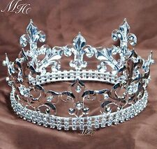 Small Kids Tiara Imperial Medieval Crown Headpiece Clear Crystal Pageant Costume