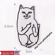Embroidery Funny Middle Finger Cat Sew Iron On Patch Badge Fabric Clothes Craft