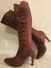 Pied A Terre Pink/purple Knee High All Leather Beautiful Boots Size 3 (256v)