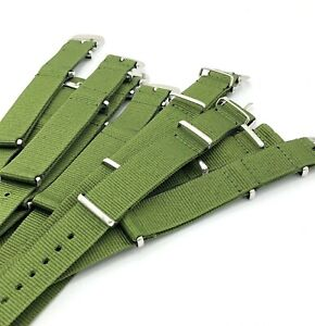 Green Military Canvas Straps For Vintage Wristwatches LOT of 10 Pieces 18 mm