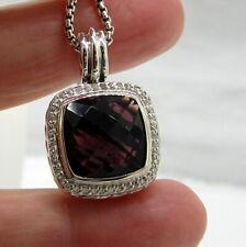 DAVID YURMAN Stunning Sterling Silver 14 MM Amethyst Diamond 18.2 Gram Necklace
