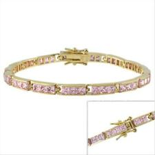 18k Gold over 925 Silver Pink Square CZ Tennis Bracelet