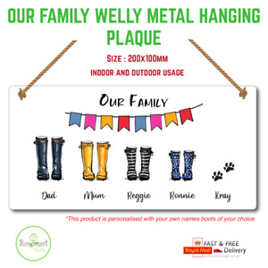 Personalised Family Names, Welly Boot Plaque, Sign, Metal, Handmade, Gift, Home