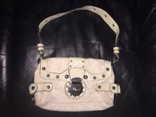 NEW NWOT Guess WHITE Patterned Hobo Shoulder Bag faux Leather trim studded
