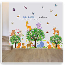 Baby Animal Wall Stickers Jungle Zoo Tree Nursery Baby Kids Bedroom Decal Art