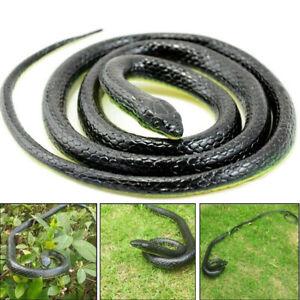 Halloween Realistic Fake Rubber Toy Snake Black Horrible Fake Snakes 50'' Long