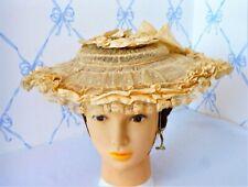 Antique Vintage Edwardian Victorian Women's Teens Lace Silk Picture Hat Exc Cond