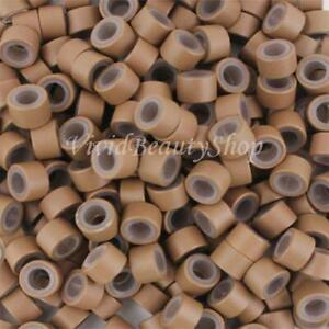 500 5mm Auburn Brown Silicone Micro Rings Beads for I Bond Tip Hair Extensions