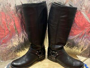 Frye Black Leather Knee High Motorcycle Boots Women's 8B Very Nice!