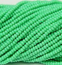 "Czech Glass Seed Beads Size 10/0 "" TERRA PEARL OPAQUE MINT GREEN "" Strands"